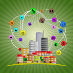 MOOC Summaries - TechniCity - illustration of colorful urban city with multimedia icon